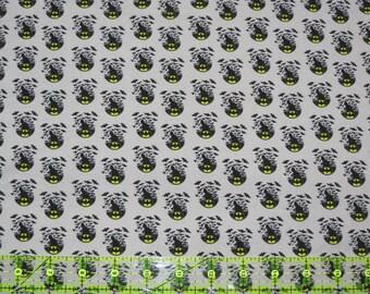 Grey Bats on cotton lycra jersey knit fabric - UK seller