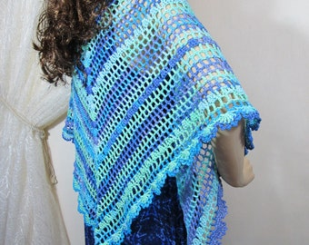 Cotton Crochet Shawl. Handmade 100% Cotton Shawl in soft Blue & Green, Spring Shawl, Summer shawl, Boho Fashion, Filigree Shawl, lace shawl