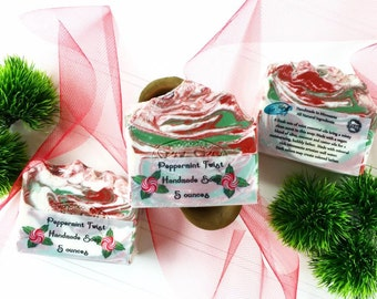 Peppermint Twist Soap, Handmade Cold Processed Soap, Peppermint Essential Oil Soap, Mint Bar Soap, Peppermint Soap, Candy Cane Soap