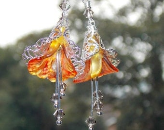 "Orange Earrings, ""Oranges and Lemons"" Earrings, Boho Earrings, Drop Earrings, Autumn Earrings, Lucite Flower Earrings, Fall Colours"