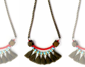 Tribal fringe necklace, red turquoize necklace, african fan necklace, african statement necklace.
