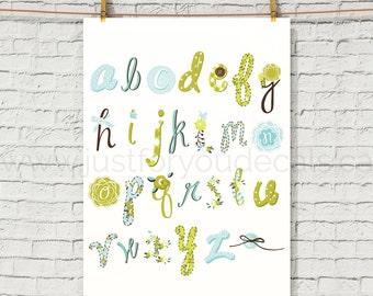 Alphabet Poster - Nursery Wall Art - Playroom Poster - Alphabet Wall Art - Alphabet Nursery Art - Alphabet Nursery - Nursery Art - 22-0011