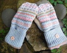 Sweater MIttens, tan and light blue fair island design made from upcycled/recycled sweaters, fleece lined, warm, cozy