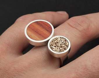 Druzy ring, wood ring, wooden ring, sterling silver rose gold druzy and tulipwood, ring for women, EU US UK size