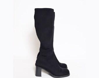 Vintage 90's Black Chunky Sock Boots