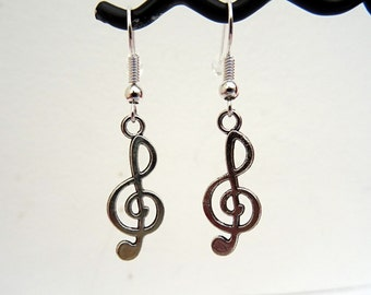 Treble clef earrings - music note charm - silver - singer musician jewellery