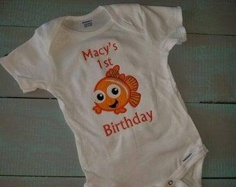 Fish themed birthday 1-9  personalized shirt orange fish clown fish
