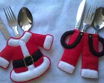 Christmas Cutlery Holder, Cutlery Holder for Christmas, Felt Cutlery Holder, Christmas Table Setting, Santa Cutlery, Table Decor