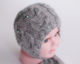 knit newborn bonnet with owls, baby bonnet, owl bonnet, owl hat, newborn photo prop, photography prop, ready to ship, rts, newborn hat, grey