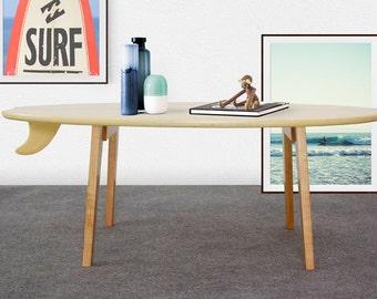 Surfboard coffee table / wood surfboard table / surfboard side table / surf furniture / wood surf table / surf decor / surfing decor