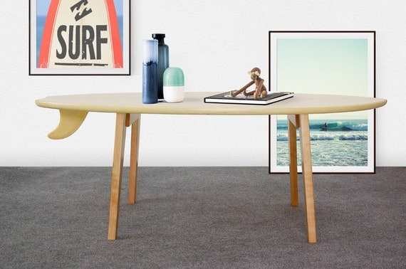 Surfbrett Couchtisch  Surfbrett Tisch Holz  Surfbrett