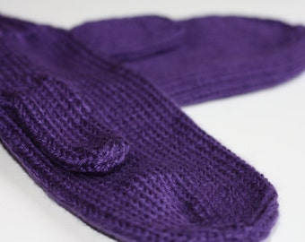 Purple Mittens for Adults - Traditional Mittens - Old Fashioned Mittens - Purple Adult Mittens - Knit Mittens - Knit Purple Mittens - Lupus