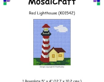 MosaiCraft Pixel Craft Mosaic Art Kit 'Red Lighthouse' (Like Mini Mosaic and Paint by Numbers)