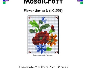 MosaiCraft Pixel Craft Mosaic Art Kit 'Flower Series D' (Like Mini Mosaic and Paint by Numbers)
