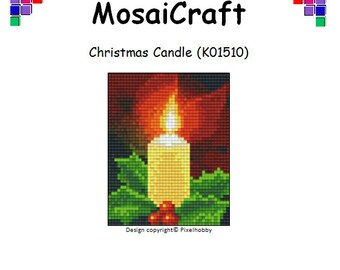 MosaiCraft Pixel Craft Mosaic Art Kit 'Christmas Candle' (Like Mini Mosaic and Paint by Numbers)