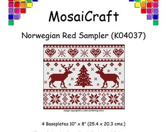 MosaiCraft Pixel Craft Mosaic Art Kit 'Norwegian Red Sampler' (Like Mini Mosaic and Paint by Numbers)