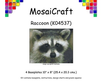 MosaiCraft Pixel Craft Mosaic Art Kit 'Raccoon' (Like Mini Mosaic and Paint by Numbers)
