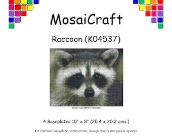 MosaiCraft Pixel Craft Mosaic Art Kit 'Raccoon' (Like Mini Mosaic and Paint by Numbers)