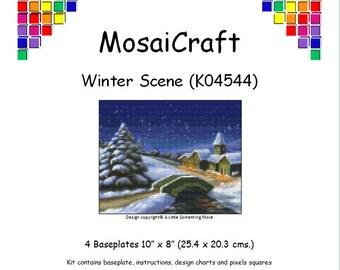 MosaiCraft Pixel Craft Mosaic Art Kit 'Winter Scene' (Like Mini Mosaic and Paint by Numbers)