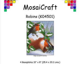 MosaiCraft Pixel Craft Mosaic Art Kit 'Robins' (Like Mini Mosaic and Paint by Numbers)