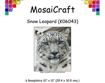 MosaiCraft Pixel Craft Mosaic Art Kit 'Snow Leopard' (Like Mini Mosaic and Paint by Numbers)