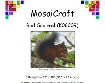 MosaiCraft Pixel Craft Mosaic Art Kit 'Red Squirrel' (Like Mini Mosaic and Paint by Numbers)