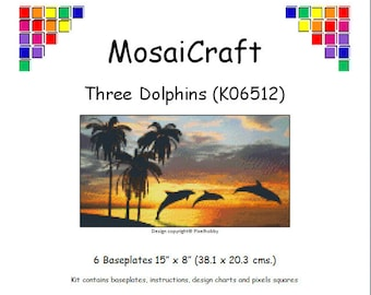 MosaiCraft Pixel Craft Mosaic Art Kit 'Three Dolphins' (Like Mini Mosaic and Paint by Numbers)