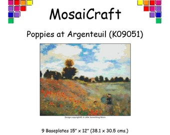 MosaiCraft Pixel Craft Mosaic Art Kit 'Poppies At Argenteiul' (Like Mini Mosaic and Paint by Numbers)