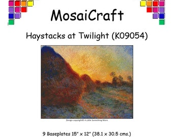MosaiCraft Pixel Craft Mosaic Art Kit 'Haystacks At Twilight' (Like Mini Mosaic and Paint by Numbers)