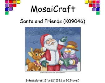 MosaiCraft Pixel Craft Mosaic Art Kit 'Santa & Friends' (Like Mini Mosaic and Paint by Numbers)