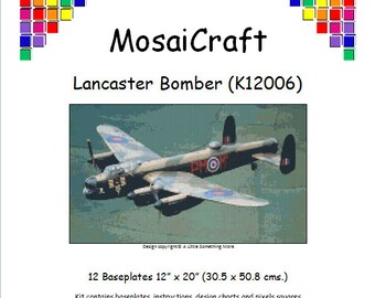 MosaiCraft Pixel Craft Mosaic Art Kit 'Lancaster Bomber' (Like Mini Mosaic and Paint by Numbers)