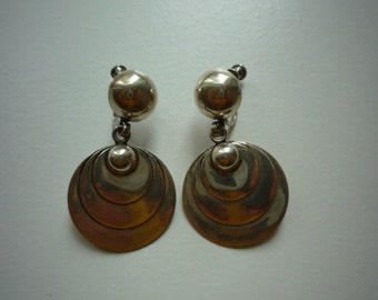 Vintage Sterling Silver Disc Circle Screw Back Dangling Earrings