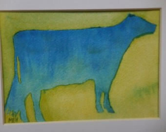 Blue Cow on Green