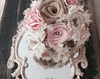 Shabby chic burlap, light pink silk and lace bouquet (listing is for one bridal bouquet)