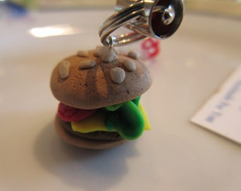 Handmade For You Juicy Cheeseburger Cell Phone Purse Charm Zipper Pull Ipod Ipad Polymer Clay Unique and YUMMY Loaded Tomato and Lettus C106