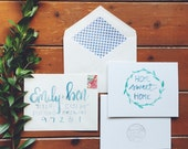 hand-lettered watercolor home sweet home card