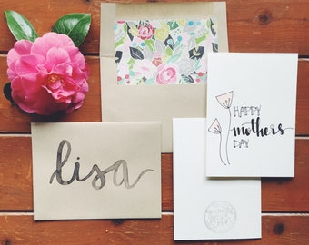 hand-lettered happy Mother's Day card