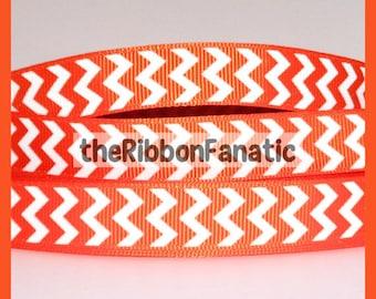 "5 yds 5/8""  Orange and White Chevron Striped Stripe Grosgrain Ribbon"