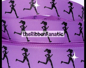 "5 yds 7/8""  Running GLITTER Girl on Hyacinth Lavender Purple Grosgrain Ribbon Runner Run"