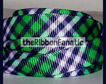 "5 yds 3/8""  Navy Blue and Kelly Green Preppy Plaid Print Printed Grosgrain Ribbon"
