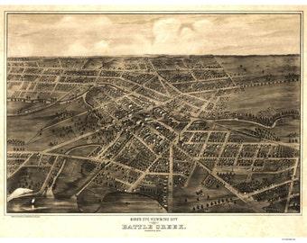 Battle Creek Michigan 1870 - Birds Eye View A. Ruger  Reprint