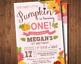 Little Pumpkin 1st Birthday Invitation. DIY card. Digital Printable card