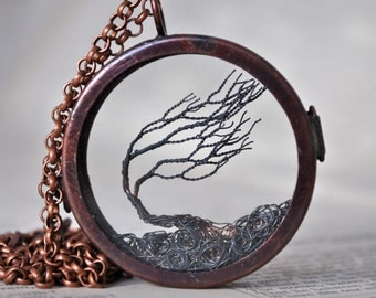 Windswept Ireland, miniature wire sculpture, glass and antiqued copper locket
