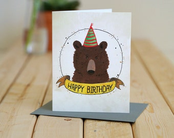 Happy Birthday- greeting card - bear celebrates / BIR-BEAR