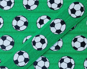 5/8 GREEN with Soccer Ball Fold Over Elastic