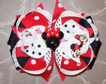 Minnie Mouse Hairbow, Red Minnie Mouse Hairclip, Disney Hairbow, Mickey Hairbow, Girl Hairbow, Baby Hairbow, Disney Hair clip