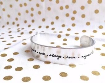 Eat Sleep Run Repeat Bracelet / Runner's Bracelet / Cuff