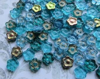 Teal Blue Green Czech Glass Flower Mix, 24 Beads - Item 3398