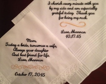 Set of two custom wedding handkerchiefs hankies