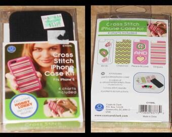 New Cross Stitch Kit BLACK iPHONE CASE KIT Fits iPhone 5